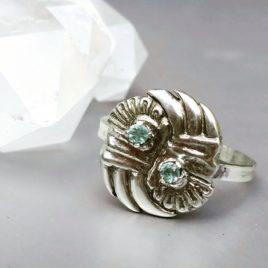 Green beryl ring silver