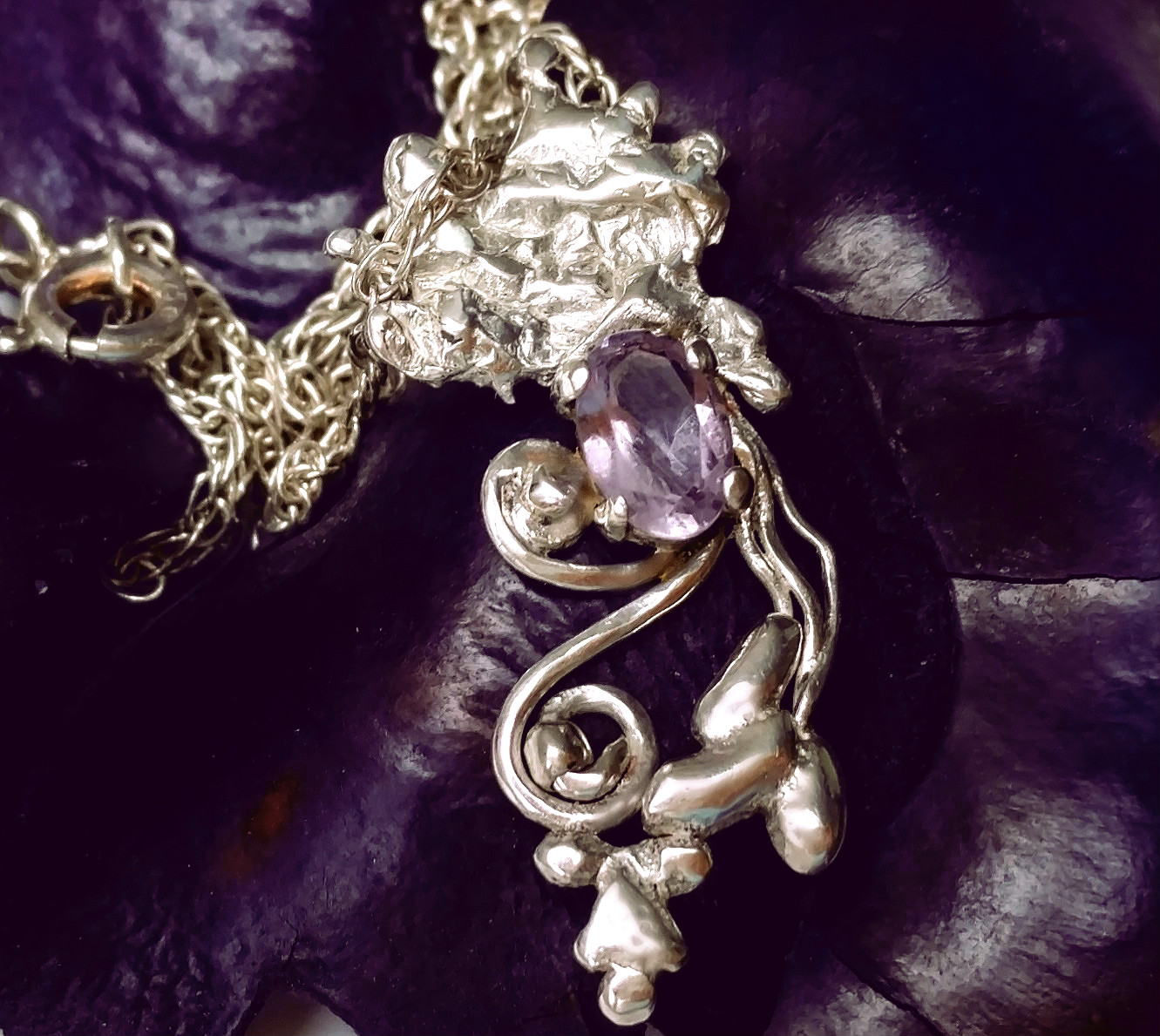 Amethyst charm necklace 925 silver