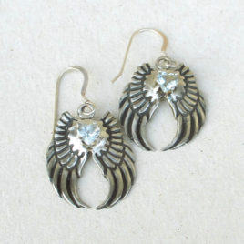 Angel wing earrings silver, aquamarine hearts