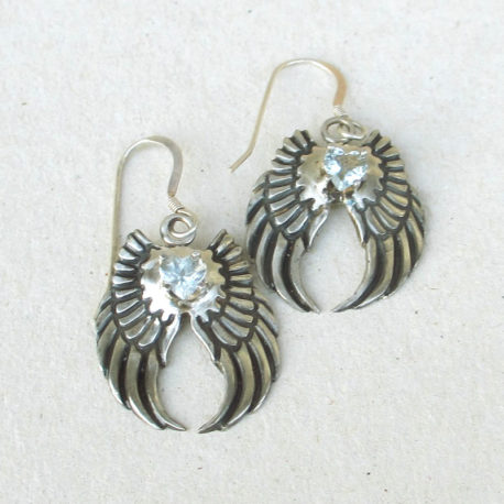 Angel wing earrings silver