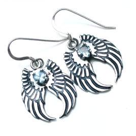 Angel wing earrings silver, aquamarine hearts