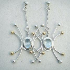 Silver gold aquamarine dangles, 925 silver 14 k gold
