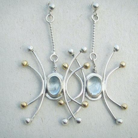 aquamarine golden ball earrings4bf