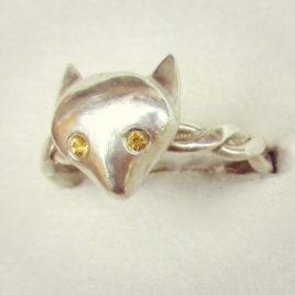 Silver fox head ring, citrine