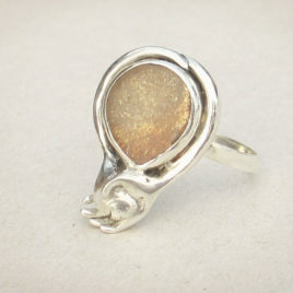 Hand and paw ring, sunstone