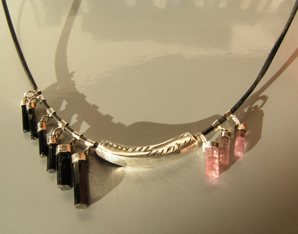 black pink tourmaline necklace