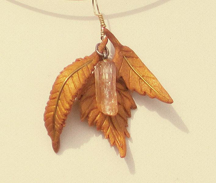 golden leaf necklace citrine