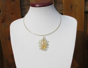 tumbled yellow citrine necklace