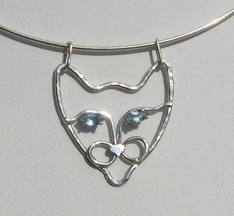 siamese cat necklace silver