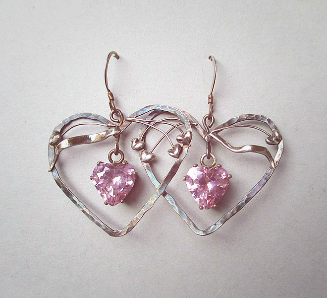 silver pink heart earrings