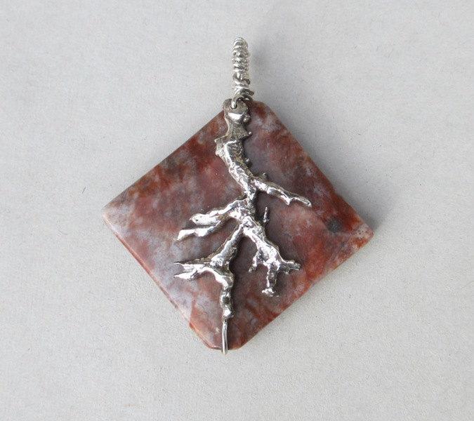 large square jasper pendant
