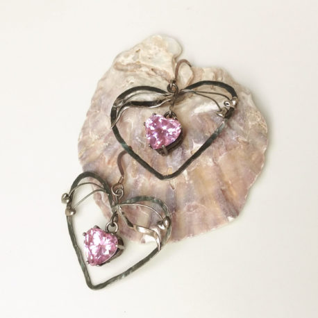 Silver pink heart earrings Art Nouveau style, shiny pink CZ hearts