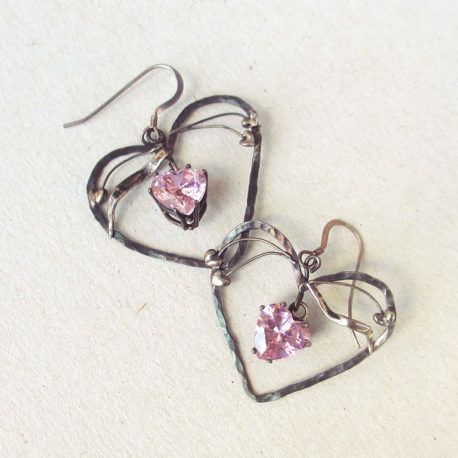 Silver pink heart earrings, Art Nouveau style