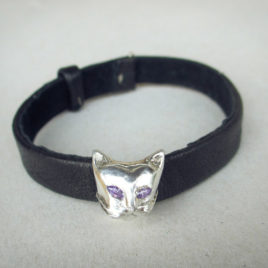 Silver cat head bracelet or pendant