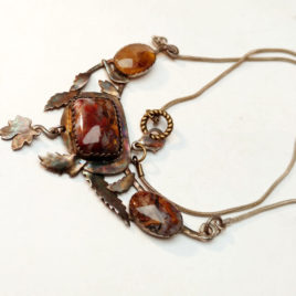 Rusty pietersite necklace silver leaves, oxidized rustic look
