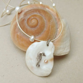 Seahorse necklace silver and pearls, sea shell