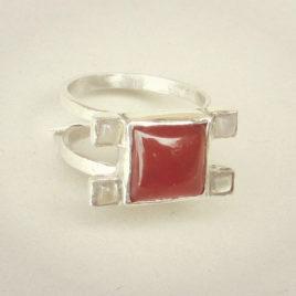 Square carnelian ring silver