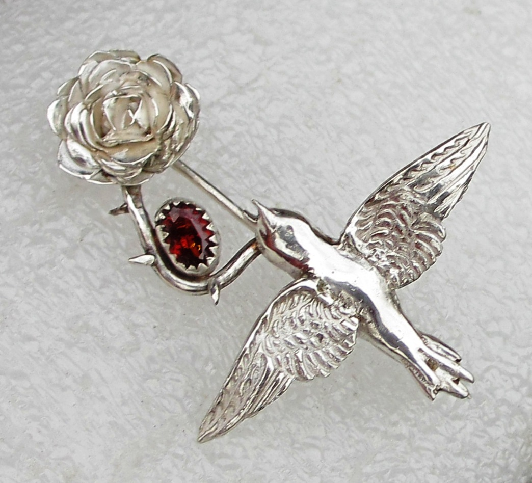 Nightingale and Rose brooch