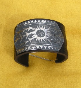 Leather cuff, fine silver plate with a flower print