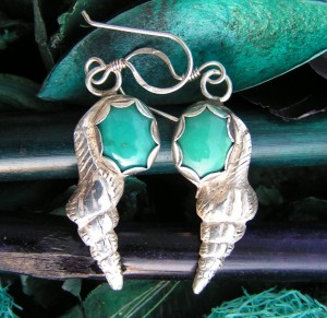 Shell earrings, 999 silver, turquoise