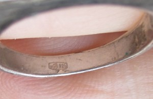 "Copper ring, silver plated and ""hallmarked"" 925-silver"