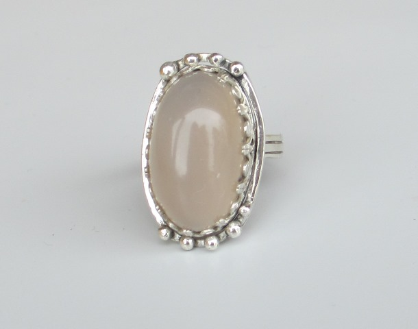 Large silver gemstone ring, agate