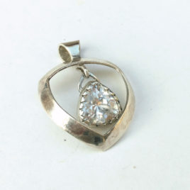 Imitation diamond pendant sterling silver