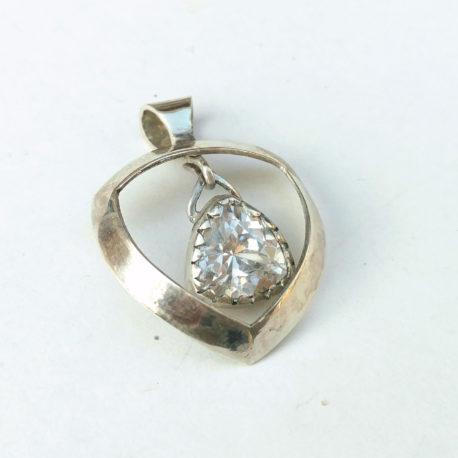 Imitation diamond pendant sterling silver