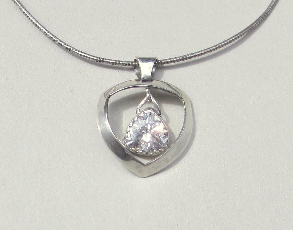 Imitation Diamond Pendant Sterling Silver Zilvera