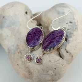 Sterling silver charoite earrings amethyst