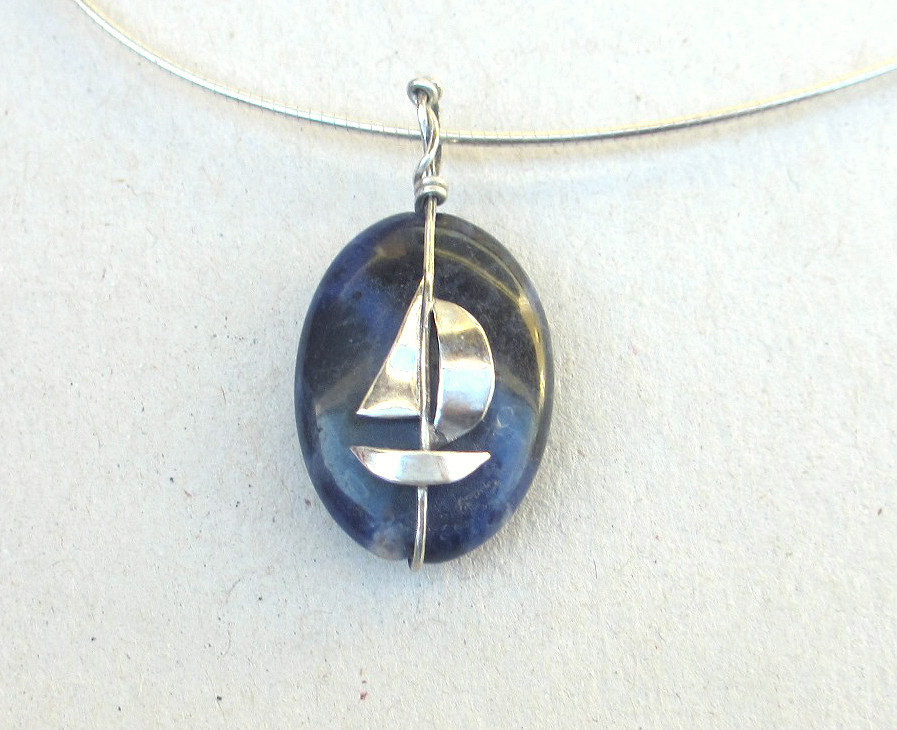 Sodalite pendant sailboat silver