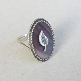 Mother of pearl silver ring, sterling leaf ring