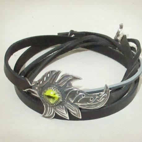 leather wrap bracelet silver amber