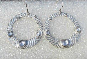 circle earrings, pmc