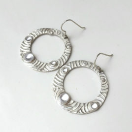 Gypsy hoop earrings silver 999, circles and waterdrops