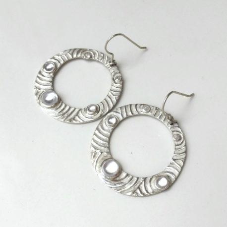 Gypsy hoop earrings silver 999, circles and waterdrops