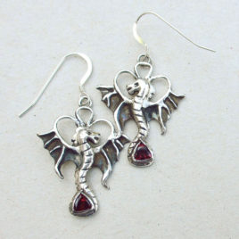 Fine silver dragon earrings red garnet