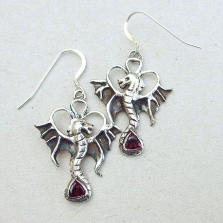 silver dragon earrings red garnet