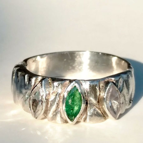 tree bark ring in woodland style, genuine emerald, sterling silver