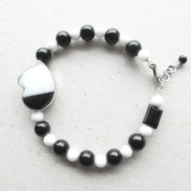Black white cat bracelet sterling silver