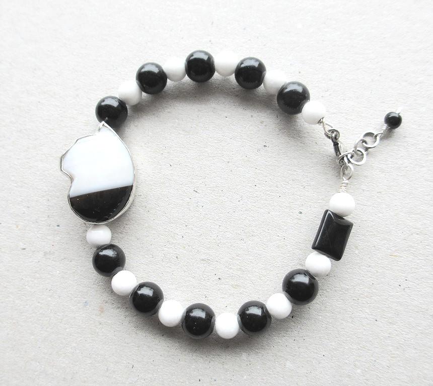 Black white cat bracelet sterling silver