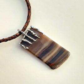 Flint pendant sterling silver, polished flint stone