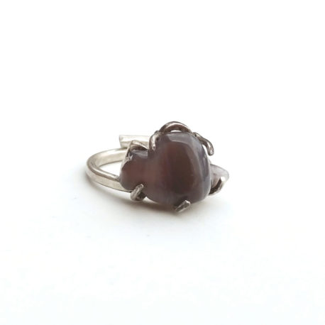 Gree cat agate ring, carved cat figure in sterling silver, custom size ring