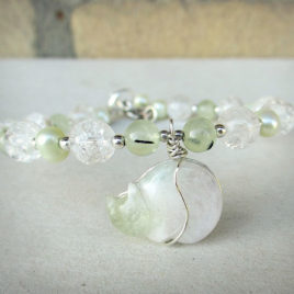 Sterling cat bracelet amegreen, crackle quartz, prehnite