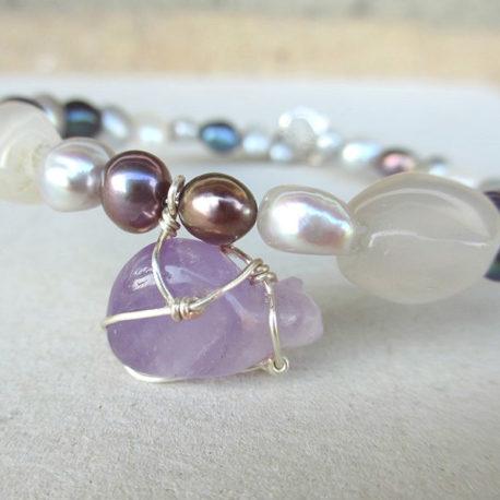 Amethyst cat bracelet
