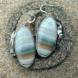 Banded agate earrings sterling silver