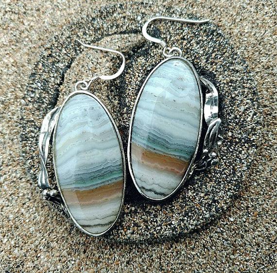 Banded agate earrings sterling silver