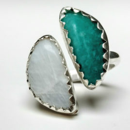 Double crescent moon ring, amazonite, moonstone, sterling silver, adjustable size