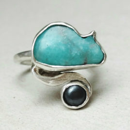 Small size cat ring, amazonite, sterling silver