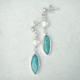 Sterling silver amazonite earrings with white pearl
